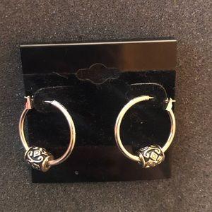 Lia Sophia Silver Small Hoop Earrings w Charm
